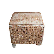 Jewish limestone Ossuary with vaulted lid decorated with Rosettes, concentric circles and arches 1st century CE