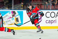 KELOWNA, BC - NOVEMBER 8:  Ethan Ernst #19 of the Kelowna Rockets passes the puck against the Medicine Hat Tigers at Prospera Place on November 8, 2019 in Kelowna, Canada. (Photo by Marissa Baecker/Shoot the Breeze)