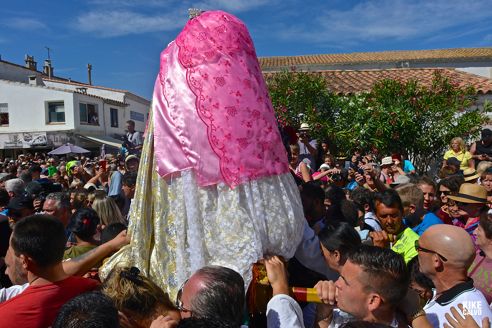 Annual Roma pilgrimage at Saintes-Maries-de-la-Mer. The statue of Sara, carried by the Gypsies to the sea, symbolizes the waiting for and welcome of the Saints Mary Jacobe and Mary Salome.