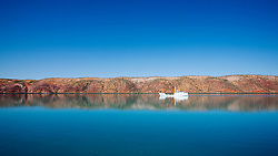 A Paspaley pearling boat is reflected in still waters in Talbot Bay near the Horizontal Waterfalls.  The pearls are grown out to a certain stage before they are moved to another location.
