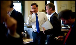 Leader of Conservative Party David Cameron prepares to face the 1922 committee as talks to form a coalition government with the Liberal Democrats fade, watched by Michael Gove Monday May 10, 2010. Photo By Andrew Parsons / i-Images