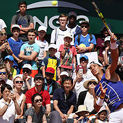 2017 French Open Tennis Tournament - Children's Day.  Rafael Nadal of Spain watched by large crowds as he practices on Children's Day at the 2017 French Open Tennis Tournament at Roland Garros on May 27th, 2017 in Paris, France.  (Photo by Tim Clayton/Corbis via Getty Images)