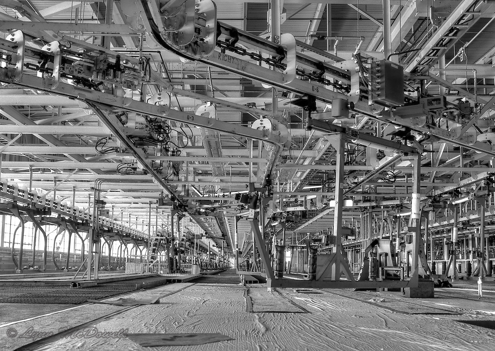 Empty upper level repair area of chrysler newark main assembly plant black and white hdr
