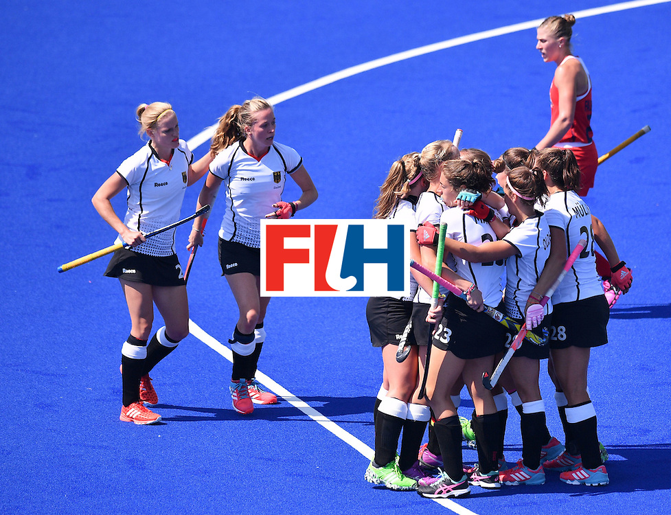 Germany players celebrate a goal during the women's quarterfinal field hockey USA vs Germany match of the Rio 2016 Olympics Games at the Olympic Hockey Centre in Rio de Janeiro on August 15, 2016. / AFP / Carl DE SOUZA        (Photo credit should read CARL DE SOUZA/AFP/Getty Images)