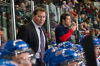 KELOWNA, CANADA - NOVEMBER 29: Dave Struch, assistant coach of the Regina Pats stands on the bench against the Kelowna Rockets on November 29, 2014 at Prospera Place in Kelowna, British Columbia, Canada.  (Photo by Marissa Baecker/Shoot the Breeze)  *** Local Caption *** Dave Struch;