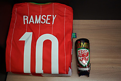 CARDIFF, WALES - Tuesday, October 13, 2015: The shirt of Wales' Aaron Ramsey laid out in the dressing room before the UEFA Euro 2016 qualifying Group B match against Andorra. (Pic by David Rawcliffe/Propaganda)