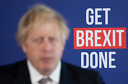© Licensed to London News Pictures. 29/11/2019. London, UK. Prime Minister Boris Johnson answers questions at a press conference in London. Later a seven way TV election debate will take place with senior politicians in Cardiff. Photo credit: Peter Macdiarmid/LNP