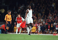Patrick Vieira leaves the field after he is sent off by referee Graham Poll. Arsenal 2:0 Liverpool, F.A.Carling Premiership, 21/8/2000. Credit : Colorsport / Andrew Cowie.