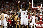 Wisconsin Forward Nigel Hayes (10) waves to the crowd at the close of the University of Minnesota Men's Basketball game versus University of Wisconsin on March 5, 2017.