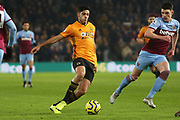 Raul Jimenez in action during the Premier League match between Wolverhampton Wanderers and West Ham United at Molineux, Wolverhampton, England on 4 December 2019.