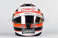 The helmet of Nico Hulkenberg (GER) Sahara Force India F1.<br /> Sahara Force India F1 Team Livery Reveal, Soumaya Museum, Mexico City, Mexico. Wednesday 21st January 2015.