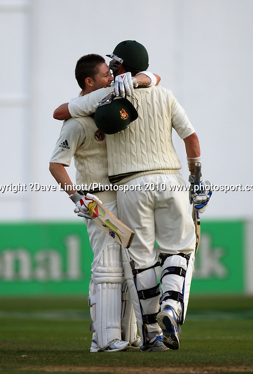 Australian vice-captain Michael Clarke celebrates his century with Marcus North.<br /> 1st cricket test match - New Zealand Black Caps v Australia, day one at the Basin Reserve, Wellington.Friday, 19 March 2010. Photo: Dave Lintott/PHOTOSPORT