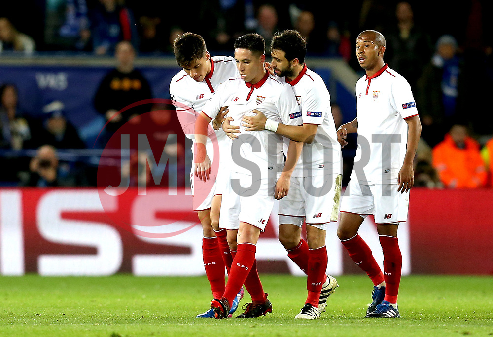 Samir Nasri of Sevilla is pulled away by his teammates after being sent off - Mandatory by-line: Robbie Stephenson/JMP - 14/03/2017 - FOOTBALL - King Power Stadium - Leicester, England - Leicester City v Sevilla - UEFA Champions League round of 16, second leg