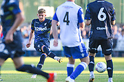 Leeds United midfielder Mateusz Bogusz (7) passes the ball during the Pre-Season Friendly match between Guiseley  and Leeds United at Nethermoor Park, Guiseley, United Kingdom on 11 July 2019.