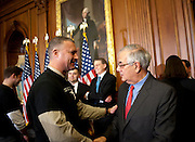 "Dec 15, 2010 - Washington, District of Columbia, U.S. -  STEFAN STENT, of Washington D.C., greets Rep. BARNEY FRANK (D-MA) at the U.S. Capitol on Wednesday after the U.S. House of Representatives passed a stand-alone version of a bill to repeal the ""Don't Ask Don't Tell"" law. (Credit Image: © Pete Marovich/ZUMA Press)"