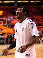 May 29, 2010; Phoenix, AZ, USA; Phoenix Suns forward Amare Stoudemire (1) reacts during warmups prior to the first quarter in game six of the western conference finals in the 2010 NBA Playoffs at US Airways Center.  Mandatory Credit: Jennifer Stewart-US PRESSWIRE