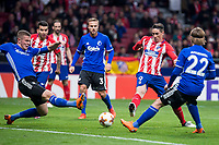 Atletico de Madrid Fernando Torres and FC Copenhague Denis Vavro, Pierre Bengtsson and Peter Ankersen during Europa League match between Atletico de Madrid and FC Copenhague at Wanda Metropolitano in Madrid , Spain. February 22, 2018. (ALTERPHOTOS/Borja B.Hojas)