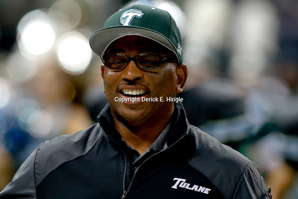 Sep 7, 2013; New Orleans, LA, USA; Tulane Green Wave head coach Curtis Johnson during the first quarter of a game against the South Alabama Jaguars at the Mercedes-Benz Superdome. Mandatory Credit: Derick E. Hingle-USA TODAY Sports