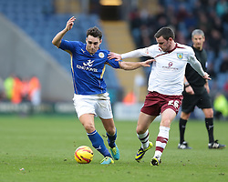 Leicester City's Matthew James is challenged by Burnley's Keith Treacy - Photo mandatory by-line: Nigel Pitts-Drake/JMP - Tel: Mobile: 07966 386802 14/12/2013 - SPORT - Football - Leicester - King Power Stadium - Leicester City v Burnley - Sky Bet Championship