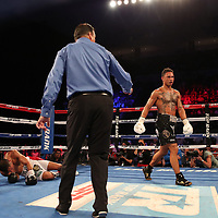 NEW ORLEANS, LA - JULY 14:  Regis Prograis (R) knocks down Juan Jose Velasco during their WBC Diamond Super Lightweight Title boxing match at the UNO Lakefront Arena on July 14, 2018 in New Orleans, Louisiana.  (Photo by Alex Menendez/Getty Images) *** Local Caption *** Regis Prograis; Juan Jose Velasco