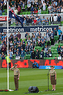 The national anthem is played prior to the match at the Hyundai A-League Round 4 soccer match between Melbourne Victory and Central Coast Mariners at AAMI Park in Melbourne.