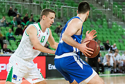 Miha Lapornik of Petrol Olimpija vs Marko Pajic of KK Rogaska during 2nd leg basketball match between KK Petrol Olimpija and KK Rogaska in quarter final of  Pokal SPAR 2018/19, on January 14, 2019 in Arena Stozice, Ljubljana, Slovenia. Photo by Matic Ritonja / Sportida