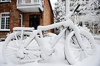 Snow Covered bike in Outremont, Montreal