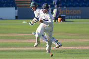 Harry Swindells pushes past Billy Root during the Specsavers County Champ Div 2 match between Glamorgan County Cricket Club and Leicestershire County Cricket Club at the SWALEC Stadium, Cardiff, United Kingdom on 17 September 2019.
