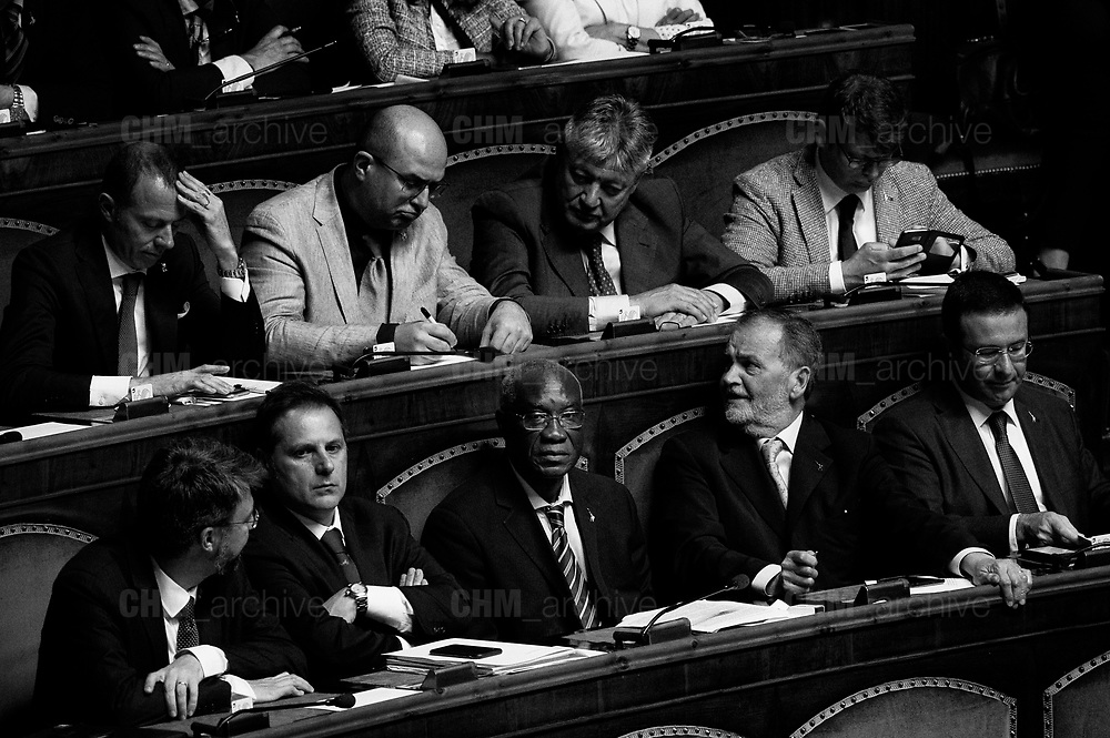 Toni Iwobi, Lega party's senator, in the Italian Senate. Rome 13 June 2018. Christian Mantuano / OneShot