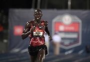 Jul 25, 2019; Des Moines, IA, USA;  Lopez Lomong wins the 10,000m in a facility record 27:30.06 during the USATF Championships at Drake Stadium.