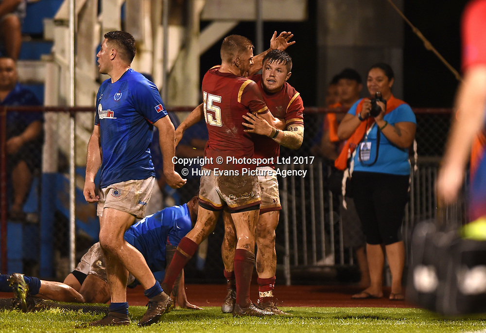 23.06.17 - Samoa v Wales -<br /> Steff Evans of Wales celebrates his second try with Gareth Anscombe.<br /> Copyright photo: Ben Evans / www.photosport.nz