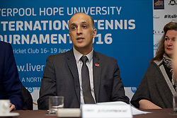 LIVERPOOL, ENGLAND - Monday, April 18, 2016: Dr Omid Alizadehkhaiyat of Liverpool Hope University during the launch of the 2016 Liverpool Hope University International Tennis Tournament at the Hilton Hotel. (Pic by David Rawcliffe/Propaganda)