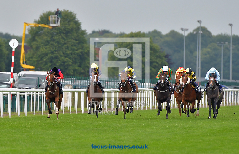 Learn By Heart ridden by Ryan Moore (Purple with red Sleeves) wins The Extra place races at 188bet Novice Stakes at the 188 Bet Summer Afternoon meeting at Doncaster Racecourse, Doncaster<br /> Picture by Martin Lynch/Focus Images Ltd 07501333150<br /> 30/06/2017