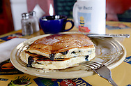 Blueberry pancakes at the Village Buzz Cafe in Greenwood Lake, NY, on Wednesday February 22, 2012.
