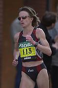 London Marathon, London, GREAT BRITAIN, location, Isle of Dogs. Race No. 00113  DEENA. DROSSIN  (USA), Narrow Street. E1. © Peter Spurrier/Intersport Image/+447973819551