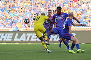 Gyasi Zardes #11 of the Columbus Crew competes with Andrew Gutman #96 and Kendall Waston #2 of FC Cincinnati during a MLS soccer game, Sunday, Aug 25th, 2019, in Cincinnati, OH. (Jason Whitman/Image of Sport)