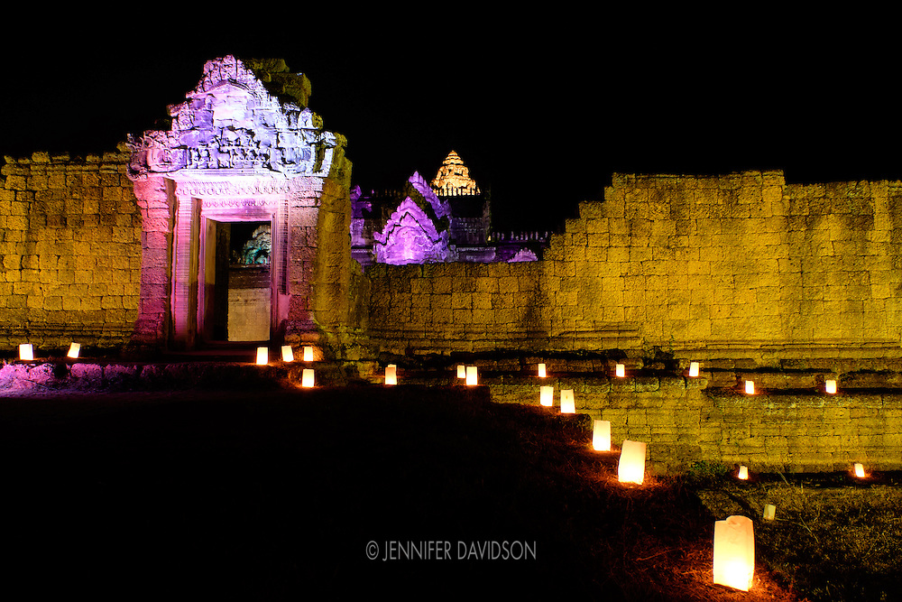 Banteay Samre, an Angkor temple and UNESCO World Heritage Site, lit up at at night.