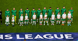 CARDIFF, WALES - Thursday, September 6, 2018: Republic of Ireland players stand for the national anthem with mascots before the UEFA Nations League Group Stage League B Group 4 match between Wales and Republic of Ireland at the Cardiff City Stadium. (Pic by Laura Malkin/Propaganda)