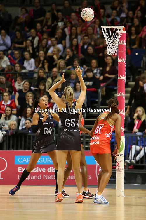 February 2nd 2017, Echo Arena, Liverpool, England; England versus New Zealand Ladies netball, part of the Vitality Netball International Series - Netball Quad Series; <br /> Bailey Mes of New Zealand Silver Ferns shots for goal as Maria Tutaia of New Zealand Silver Ferns looks on