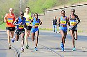 Joyciline Jepkosgei (KEN) and Violah Jepchumba (KEN) lead the women's race in the Prague Half Marathon in Prague, Czech Republic on Saturday, April 17, 2017. Jepkosgei won in a world record 1:04:52 and Jepchumba was second in 1:05:22. (Jiro Mochizuki/IOS)