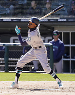 CHICAGO - APRIL 25:  Dee Gordon #9 of the Seattle Mariners bats against the Chicago White Sox on April 25, 2018 at Guaranteed Rate Field in Chicago, Illinois.  (Photo by Ron Vesely)   Subject:   Dee Gordon