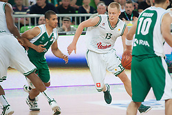 Sasu Salin of Union Olimpija & Mustafa Abdul Hamid of Krka during basketball match between KK Union Olimpija and KK Krka in 4nd Final match of Telemach Slovenian Champion League 2011/12, on May 24, 2012 in Arena Stozice, Ljubljana, Slovenia. Krka defeated Union Olimpija 65-55. (Photo by Grega Valancic / Sportida.com)