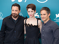 Venice, Italy, 31st August 2019, Director Pablo Larraín, Mariana Di Girolamo and Gael García Bernal at the photocall for the film Ema at the 76th Venice Film Festival, Sala Grande. Credit: Doreen Kennedy/Alamy Live News