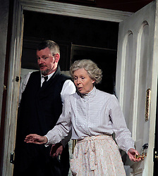Lady Killers.<br /> Angela Thorne (Mrs Wilberforce) and John Gordon Sinclair (Professor Marcus) on stage in the Lady Killlers Vaudeville Theatre<br /> London, United Kingdom<br /> Monday, 8th July 2013<br /> Picture by Mike  Webster / i-Images