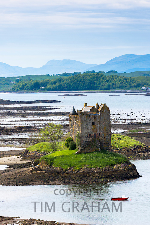 Stalker Castle on Loch Linnhe, 14th Century highland fortress of MacDougall clan at Appin, Argyll in the Highlands of Scotland