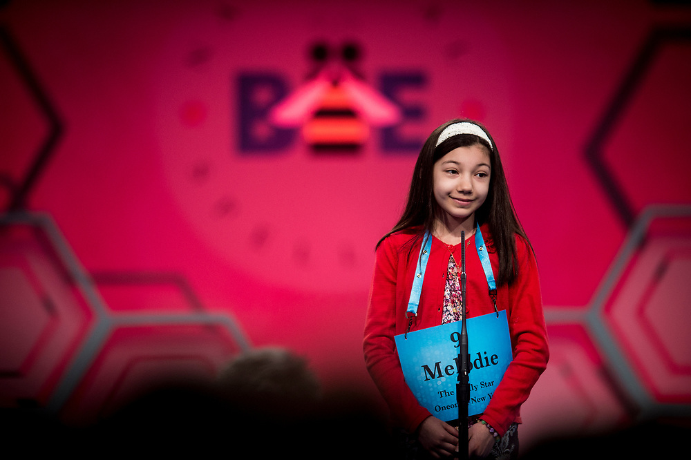 Melodie Loya, 12, from Bainbridge, N.Y., participates in the finals of the 2017 Scripps National Spelling Bee on Thursday, June 1, 2017 at the Gaylord National Resort and Convention Center at National Harbor in Oxon Hill, Md.      Photo by Pete Marovich/UPI