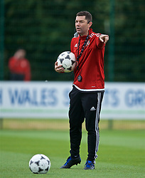 NEWPORT, WALES - Sunday, May 26, 2019: Anthony Pulis delivers his practical demonstration Switching Play during day three of the Football Association of Wales National Coaches Conference 2019 at Dragon Park. (Pic by David Rawcliffe/Propaganda)