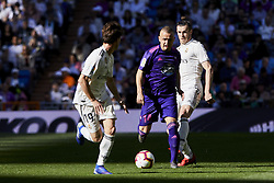 March 16, 2019 - Madrid, Madrid, Spain - Real Madrid's Alvaro Odriozola (L) and Gareth Bale (R) and Real Club Celta de Vigo's Stanislav Lobotka seen in action during La Liga match between Real Madrid and Real Club Celta de Vigo at Santiago Bernabeu Stadium in Madrid, Spain. (Credit Image: © Legan P. Mace/SOPA Images via ZUMA Wire)