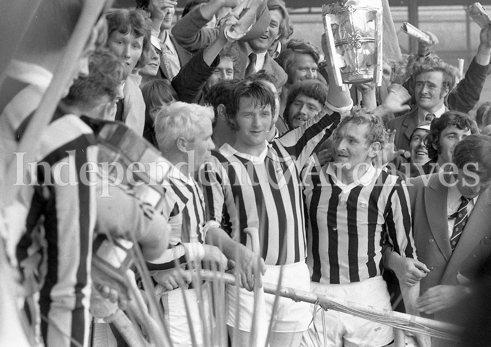 974-18<br /> A happy Mickey Orr, the Kilkenny Captain with the cup after the All-Ireland Hurling Final. 1/9/74<br /> Pic: Donal Doherty<br /> (Part of the Independent Newspapers Ireland/NLI collection.)