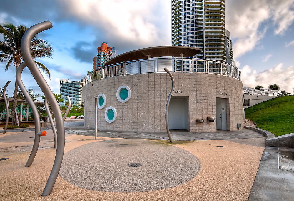 Modern restroom facilities at South Pointe Park in Miami Beach, Florida.